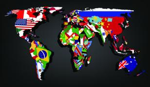 World Map Flags Mural