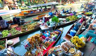Thai Floating Market Mural