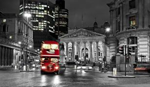 London Bus at Night Mural